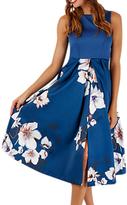 Closet Sleeveless Pleated Floral Dress, Multi