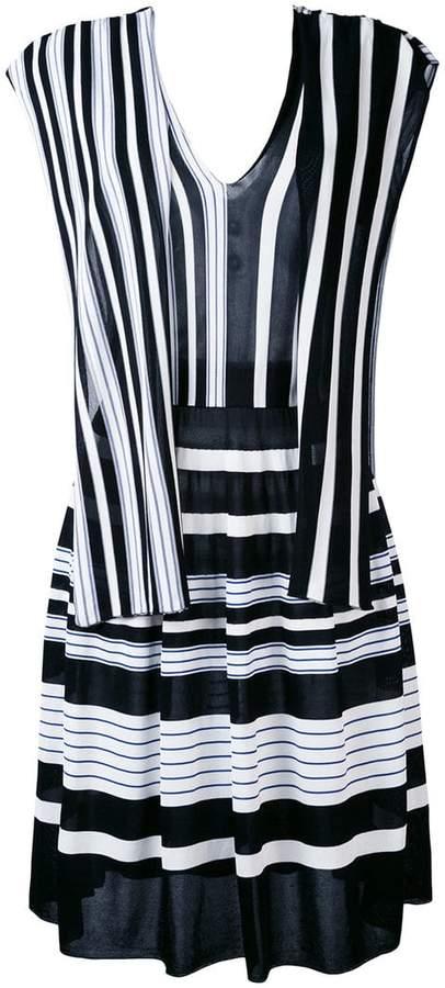 MSGM V neck striped dress