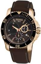 Ferré Milano Men's FM1G070L0051 Chocolate Dial With Dark Leather Calfskin Band Watch.