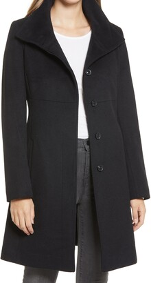 Via Spiga Stand Collar Wool Blend Coat