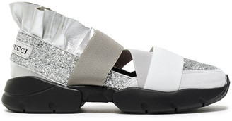 Emilio Pucci City Up Ruffled Metallic Leather, Glittered Neoprene And Suede Slip-on Sneakers