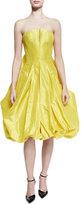 Zac Posen Strapless Bubble-Skirt Cocktail Dress, Bright Yellow