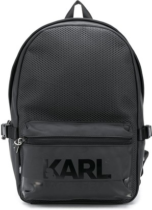 Karl Lagerfeld Paris Logo Print Perforated Backpack