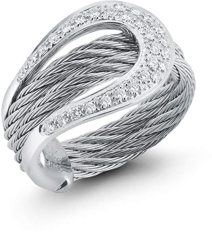 Alor 18k Diamond Pave Horseshoe Ring, Gray, Size 7