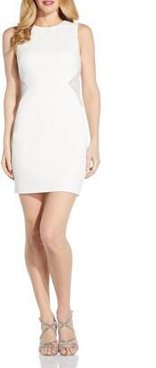 Adrianna Papell Beaded Inset Sleeveless Crepe Sheath Dress