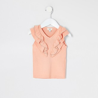 River Island Mini girls coral beaded frill knitted top
