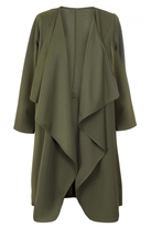 Quiz Curve Khaki Long Sleeve Waterfall Jacket