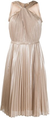 Jeannie Pleated Faux-Halter dress