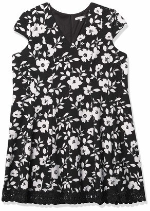 Sandra Darren Women's Plus Size Cap Sleeve Floral V-Neck Knit Fit & Flare Dress