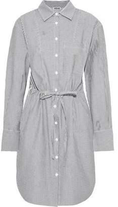 Jason Wu Striped Cotton-blend Seersucker Mini Shirt Dress