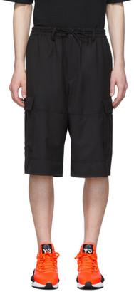 Y-3 Black Wool Classic Cargo Shorts