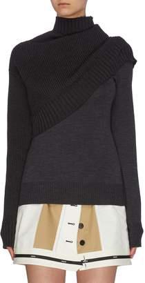 Monse Mock neck rib knit panel sweater