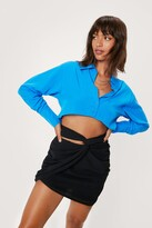 Thumbnail for your product : Nasty Gal Womens Knot Front High Waisted Bodycon Mini Skirt - Black - 4