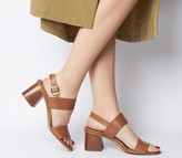 Office Mover Mid Block Heels Tan Leather