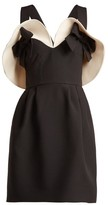 Valentino Bow-detailed Wool And Silk-blend Dress - Womens - Black White