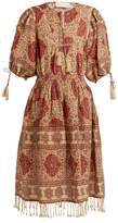 Zimmermann Tulsi Border jour-échelle trimmed linen dress