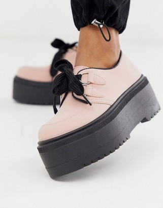 Asos DESIGN Murray chunky lace up flat shoes in pink