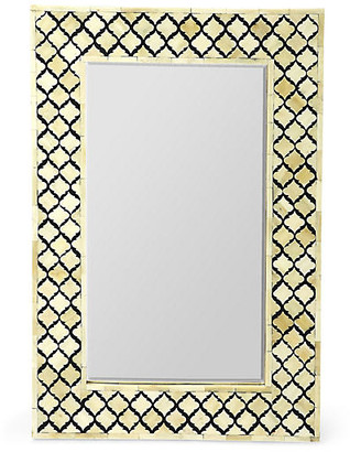 One Kings Lane Mardell Bone-Inlay Wall Mirror - Black/Ivory