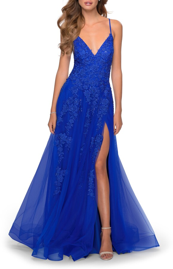 La Femme Sleeveless Strappy Back Gown