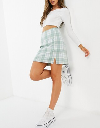 New Look a-line mini skirt with side split in green check