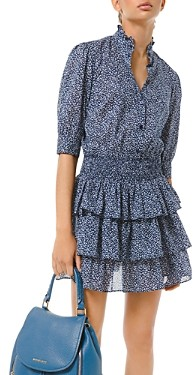 MICHAEL Michael Kors Floral Print Tiered Ruffle Mini Dress