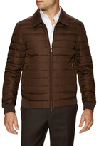 Canali Solid Spread Collar Puffer Jacket