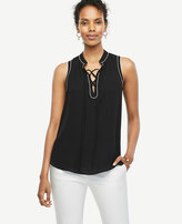 Ann Taylor Petite Tipped Lace Up Shell