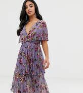 Asos DESIGN Petite soft pleated tiered midi dress in lilac floral