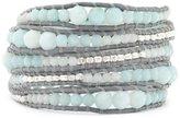 Chan Luu Amazonite Mix Graduated Wrap Bracelet/ Iceberg Leather