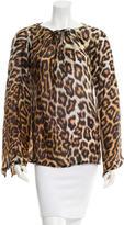 Just Cavalli Silk Leopard Print Blouse