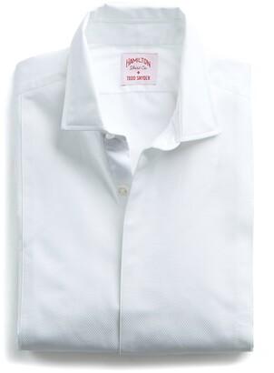 Hamilton Made in the USA + Todd Snyder White Pique Fly Front Tuxedo Shirt