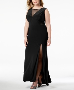 Morgan & Company Trendy Plus Size Mesh-Inset Gown