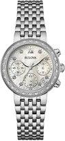 Bulova Women's Chronograph Maiden Lane Diamond Accent Stainless Steel Bracelet Watch 30mm 96R204
