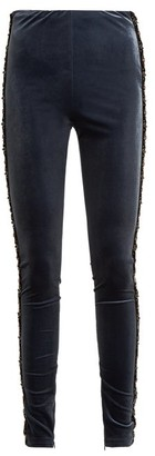 Koché Bead-embellished Velvet Leggings - Navy