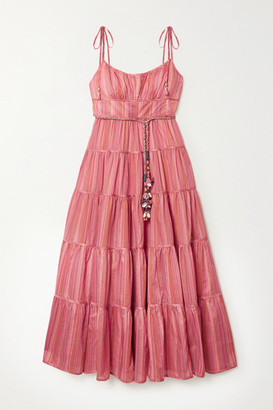 Zimmermann Bonita Embellished Striped Tiered Cotton-voile Midi Dress - Pink