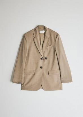 BEIGE Mijeong Park Women's Oversized Tailored Jacket in Beige, Size Small   Wool