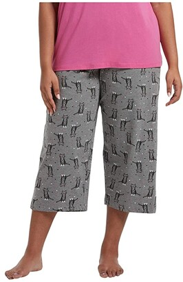 Hue Plus Size Sweet Kitty Capris PJ Pants (Medium Heather Grey) Women's Pajama
