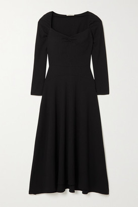 Vince Ruched Textured Crepe Midi Dress - Black
