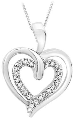 """Carissima Gold 9ct White Gold Diamond Double Heart Pendant on Chain Necklace of 46cm/18"""""""