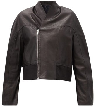 Rick Owens Cropped-hem Asymmetric Leather Bomber Jacket - Black