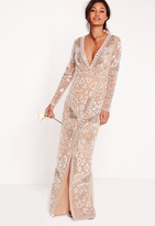 Missguided Bridal Sequin Wrap Maxi Dress Silver