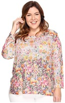 Nally & Millie Plus Size Pink Floral Border Print Tunic