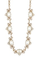 Natasha Accessories Synthetic Pearl & Crystal Station Necklace