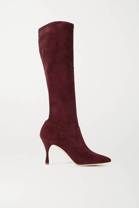 Manolo Blahnik Pamfilo Stretch-suede Knee Boots - Burgundy