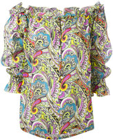 Etro paisley off the shoulder peasant blouse