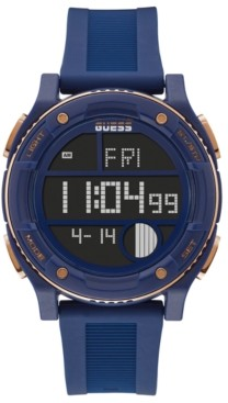 GUESS Men's Digital Blue Silicone Strap Watch 45mm