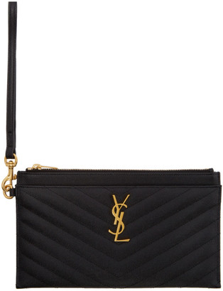 Saint Laurent Black Large Bill Monogramme Pouch