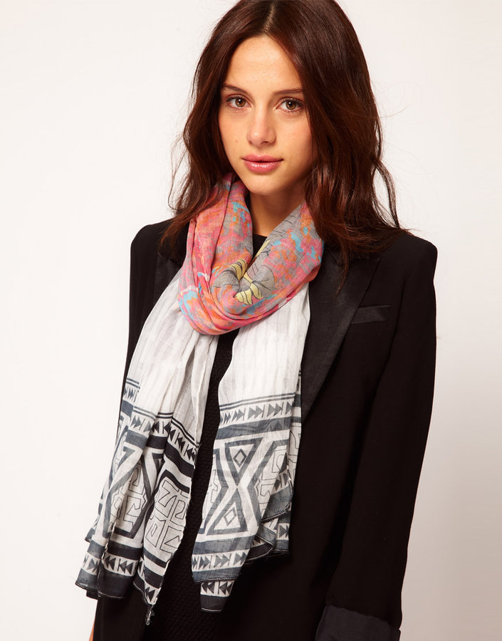 River Island Feather Print Scarf