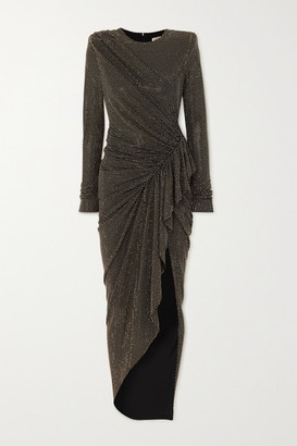 Alexandre Vauthier Ruched Crystal-embellished Stretch-jersey Gown - Black