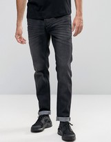 Solid Jeans In Slim Fit Washed Black Denim With Stretch
